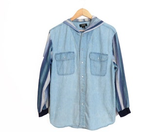 Vintage 90s Denim Chambray Snap Button Hooded Shirt Size M