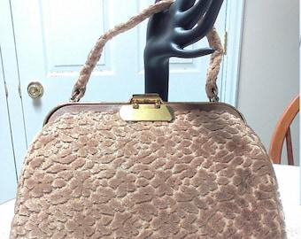 Lovely Vintage Beige Floral Carpet Velvet Handbag by Jana