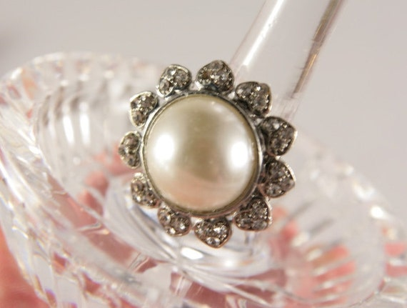 pearl halo ring large pearl ring adjustable ring cheap wedding