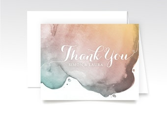 LAUREN. Thank You Custom Cards & Envelopes. Watercolor White Calligraphy Pink Teal Blush Gold. Printed Heavy Weight Folded Cards. Modern Fun