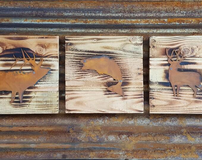 Hunting Fishing Sign, Elk Buck Bass, Outdoor Rustic Decor, Farmhouse Style, Man Cave, Woodland Nursery Cabin, Boys room art, Wildlife nature