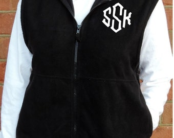 Monogrammed Full Zip Unisex Fleece Vest (Embroidered Oversize Zip Up Vest Size Small, Medium, Large, XL, 2X, 3X) 3010