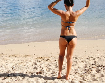 Black 'Kawaihae' Brazilian Bikini Bottoms Cheeky Swimwear Handmade in Hawaii