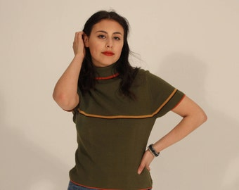 Green Striped Turtleneck 80s Turtleneck 80s Green Sweater Short Sleeve Turtleneck Striped Turtleneck Yellow Red Vintage Small Medium