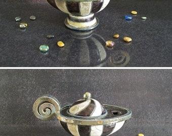 ceramic oil lamp black and white, Aladdin's Lamp, vintage oil lamp inspired, oil lamp customizable, oil lamp lantern, raku pottery lamp