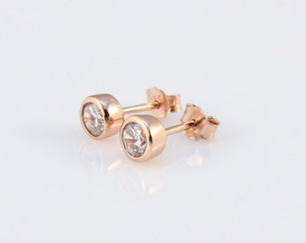 Rose gold earrings CZ Studs 925 Sterling Silver stud earrings, Bridesmaids gifts, 4mm cz rose gold studs, Bridal party gifts