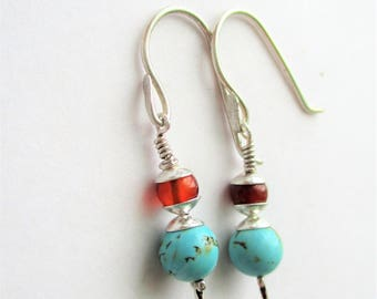 Turquoise Drop Earrings, Turquoise and SS earrings, SS and Turquoise Dangles, Turquoise and Carnelian, 20mm drop, December Birthstone