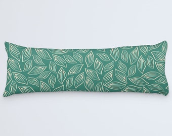 Green Body Pillow, Leaves Body Pillow, Body Pillow Cover, Leaf Patterned Pillow, Large Pillow Case, Modern Large Cushion, 20x54 Body Pillow