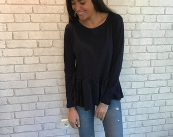Peplum Oversized shirt, Loose Fitting blouse,Long Sleeve Shirt, Casual Women Top -Black