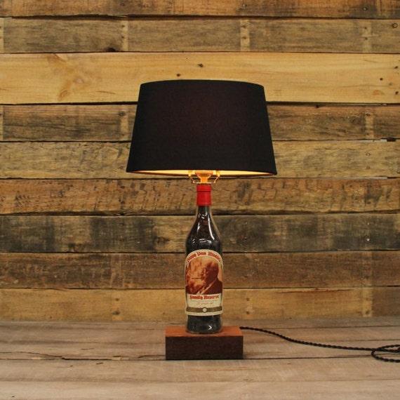 Pappy Van Winkle 20 Bourbon Bottle Table Lamp, Authentic Bourbon Barrel Char, Reclaimed Wood Base, Full Sized Table Lamp, Whiskey Bottle