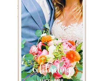 Snapchat Geofilter Wedding, Wedding Snapchat Filter, Snap Chat, Custom Snapchat Filter, Personalized, PNG, Wedding Filter, Wedding Ceremony