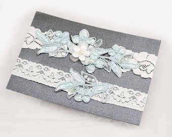 Light Blue Beaded Lace Wedding Garter Set , Keepsake Garter, Toss Garter, Customizable Handmade-GT029