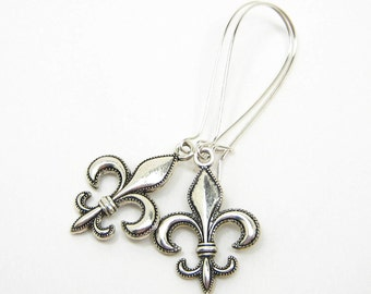 FLEUR de LIS EARRINGS, 925 Silver Wire Dangles, Lily Flower, Emblem of Royalty, 3D French Jewelry, Gift Under 20, 3 Petunia Place