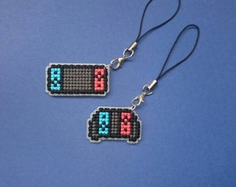 Nintendo switch neon blue and red inspired cross stitch phone accessory charm travelers notebook journal planner zipper bag charms.