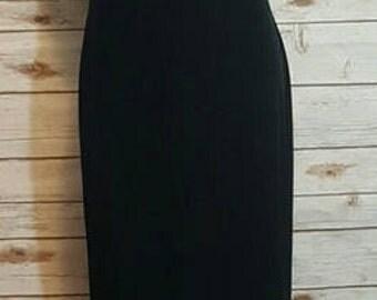 Vintage, 90's, Robbie Bee black velvet maxi dress with chiffon train/ Medium