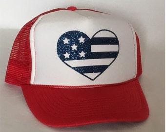 Red/White American Flag Trucker Hat