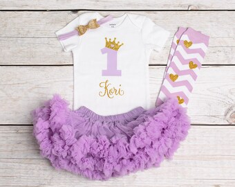 1st Birthday Girl Outfit, First Birthday Outfit, Purple Birthday Outfit, Princess Onesie, Lilac Pettiskirt, Purple and Gold, Glitter Shirt