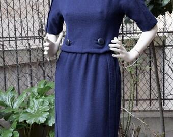 CHRISTIAN DIOR LONDON 1950 Navy Blue Wool Dress