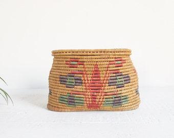 coil basket with lid / vintage woven storage basket