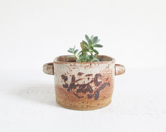 vintage stoneware planter pot / speckled handmade studio pottery bowl with handles / earthy brown matte glaze