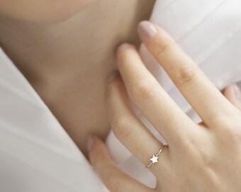 Tiny Star Ring, Gold Star Ring, White Gold Ring, 14k Gold Ring, White Gold, Stacking Rings, Gift For Her, Minimalist Ring, Women's Ring