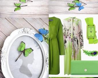 green butterfly hairpin blue butterfly Bobby pins gift girl fairy birthday hair decor Blue Green Hair Accessory Butterfly Women Head Piece