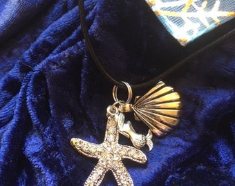 """starfish pendant on 18.5"""" black chord necklace, with shell and mermaid"""