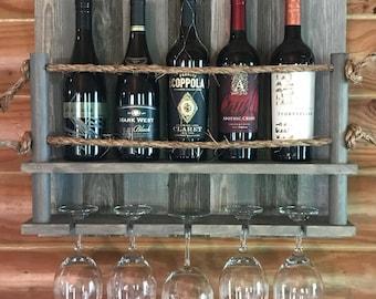 Wine bottle rack - valentines day gift - wine rack - rustic wine rack - grey wine rack - gray wine rack - custom wine rack - valentines gift