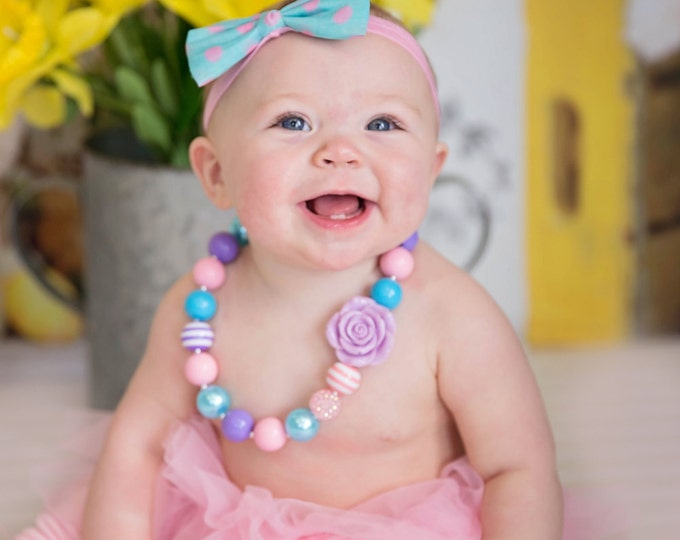 SALE Baby Girls Chunky Necklace, Rainbow necklace, 1st birthday necklace, bubblegum necklace, pink necklace, baby girls photography props