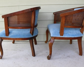 Pair of Vintage Mid Century Cane Barrel Chairs