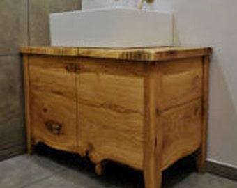 Basin solid oak natural furniture.