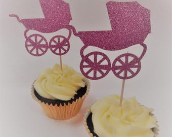 12 x Pink Pram Glitter Cupcake Toppers - Double sided. Baby Shower Decorations, Handcrafted