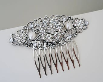 Crystal Bridal Comb Rhinestone Hair Comb Swarovski Pearl Wedding Hair Comb Crystal Hair Comb Bridesmaid Hair Piece Vintage Style Flower