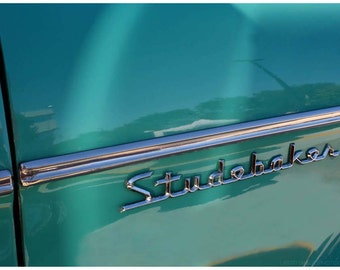 Teal Green Classic Car Photo - Jade Studebaker Script Closeup Photo Art - 9x12 Old Car Art Photograph - Silver Chrome - Automobile Photos