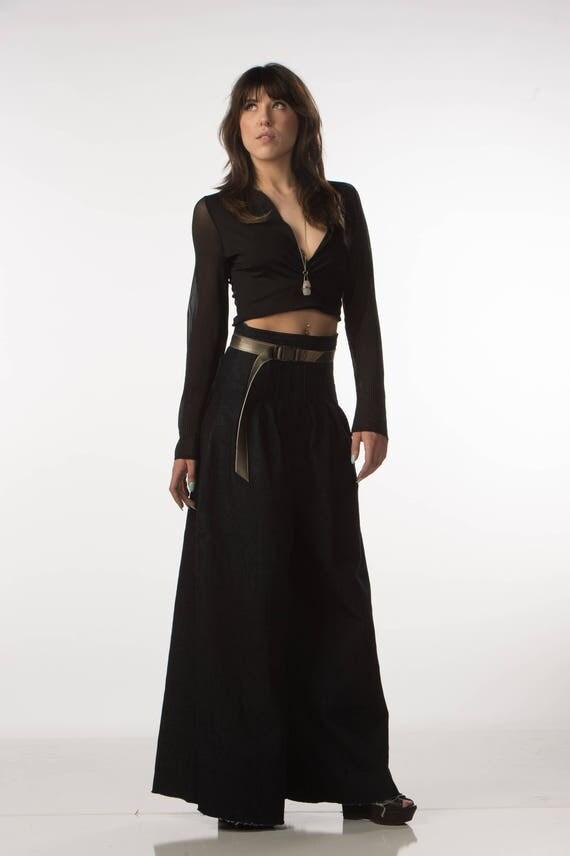 Deep V Neck Wrap Top Black Jersey Knit Boho Longsleeve Mesh Festival Fashion Extra Small Small