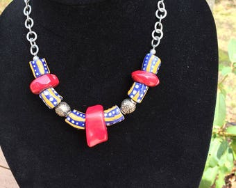Tribal trade bead necklace African Krobo beads Beaded Necklace coral necklace Summer beaded necklace boho style statement necklace