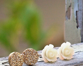 Rose and Faux Druzy Stud Earrings in Ivory and Gold.