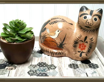 Tonala Pottery Folk Art Cat c.1965 made in Mexico Beautiful design with hand painted birds Vintage Folk Art Piece