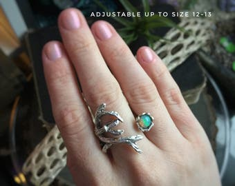 Large Opal ring, adjustable up to size 13