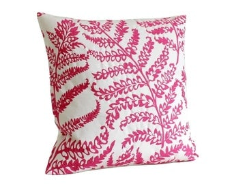 Pillow cover, Embroidered, cushion cover, toss pillow, sham cover - Tree Fern Raspberry