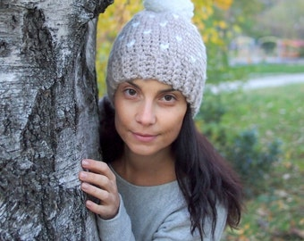 Crochet pattern Fair isle knit look hat woman  pom pom beanie , DIY ,  Instant download