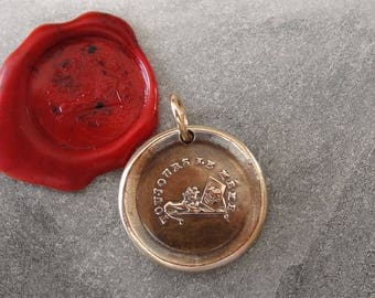 A Lion In The Mirror Wax Seal Charm - Unchanging - antique wax seal jewelry pendant Bravery Courage Strength French motto by RQP Studio