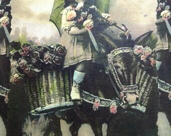 Gift Tag Girl Donkey Roses Baskets French Birthday Any Occasion