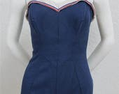 "Reserved for Brittany 1950's ""Jantzen"" Navy Blue with Red, White and Blue Trim One Piece Bathing Suit / Swimsuit  - Size:"