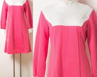 Mod Dress, Mod Pink Dress, Vintage Pink Dress, 60s Dress, Mad Men Dress,60s Pink Dress,Fuchsia Pink Dress,Stripe Dress, 60s Knit Dress - M/L