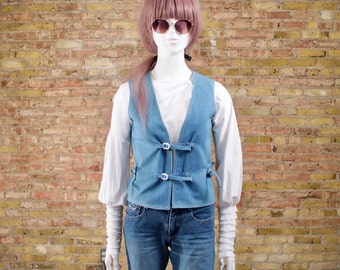 70s denim vest / buckled vest / jean vest / retro vest / denim waistcoat / fitted denim vest / minimalist