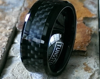 Tungsten Black with Black Carbon Fiber Inlay Comfort Fit Personalized Mens Womens Wedding Band Ring - Promise Ring ( FREE ENGRAVING ) AZ63