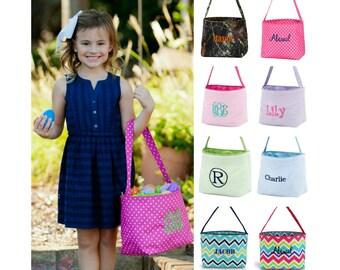 Personalized Easter Basket Monogram Egg Bucket Fabric Girls Boys Kids Childrens Monogrammed Name Embroidered Pink Purple Blue Green