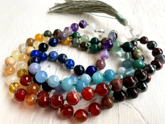 Chakra Mala Beads  7 Chakra Therapeutic Aura Cleanser Natural Stone Healing Gemstone 108 Beads Meditation Yoga Healing Chakra Yoga Jewelry