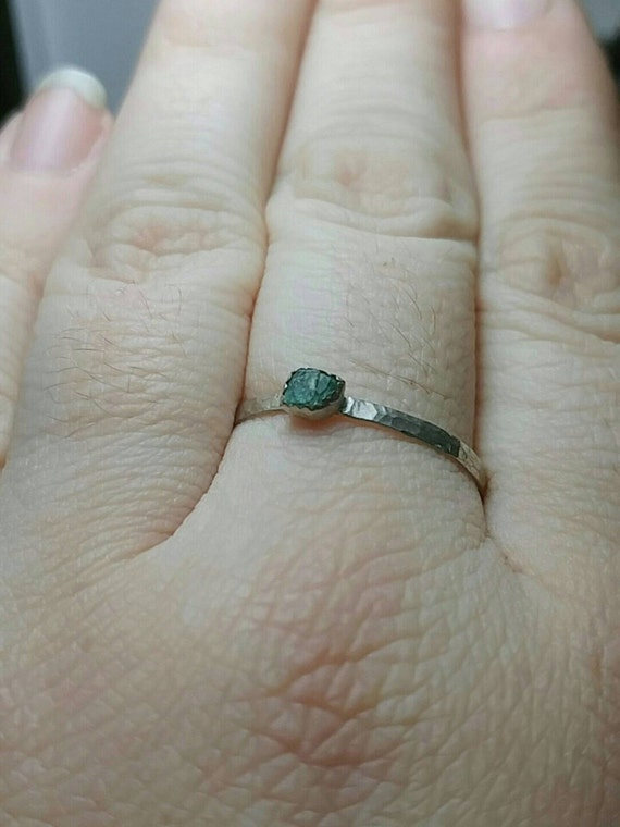 Raw Aquamarine Stacking Ring | Sterling Silver Ring Sz 12.5 | Raw Blue Aquamarine Ring | Raw Stone Ring | Raw Stone Stackable Ring